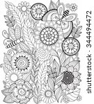 coloring book for adult. summer ... | Shutterstock .eps vector #344494472