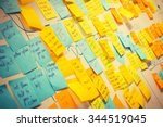 whiteboard post it colored notes | Shutterstock . vector #344519045