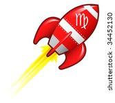 Virgo zodiac astrology sign on on red retro rocket ship illustration - stock vector