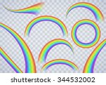 rainbow elements on transparent ... | Shutterstock .eps vector #344532002