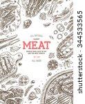 meat market frame. linear... | Shutterstock .eps vector #344533565