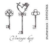 vintage keys.  hand made... | Shutterstock . vector #344542466