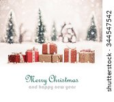 christmas landscape with gifts... | Shutterstock . vector #344547542