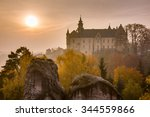 hazy sunrise with a castle and... | Shutterstock . vector #344559866