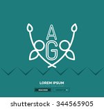 abstract geometric linear... | Shutterstock .eps vector #344565905