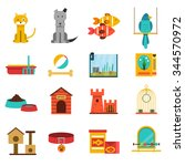 Pets Flat Icons Set With Cat...