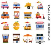 street food icons set with hot... | Shutterstock .eps vector #344574926