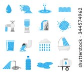 water forms flat icons set with ...   Shutterstock .eps vector #344574962