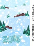 2016 christmas or new year... | Shutterstock .eps vector #344581352