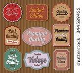 set of vintage colorful badges...   Shutterstock .eps vector #344589422