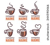 coffee and tea  vector linear... | Shutterstock .eps vector #344590466