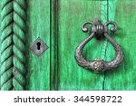 old wooden green door  with... | Shutterstock . vector #344598722