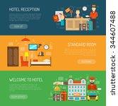 hotel horizontal banner set... | Shutterstock .eps vector #344607488