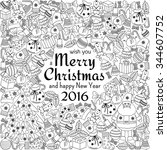 christmas greeting card with... | Shutterstock . vector #344607752