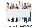 group portrait of people with... | Shutterstock . vector #344608808