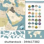 middle east and west asia map... | Shutterstock .eps vector #344617382