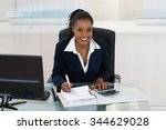 smiling african businesswoman... | Shutterstock . vector #344629028