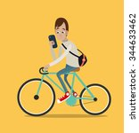 young man riding bike and... | Shutterstock .eps vector #344633462
