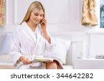ordering room service.... | Shutterstock . vector #344642282