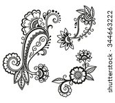 henna tattoo flower template...   Shutterstock .eps vector #344663222