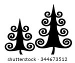 christmas tree. black and white ... | Shutterstock .eps vector #344673512
