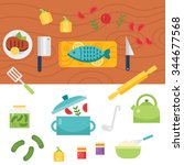 kitchen themed illustration and ... | Shutterstock .eps vector #344677568
