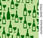 bottle and glasse seamless... | Shutterstock .eps vector #344679932