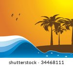 abstract ocean beach... | Shutterstock .eps vector #34468111
