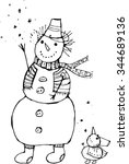 new year snowman line art | Shutterstock .eps vector #344689136