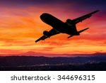 airplane silhouette in the sky... | Shutterstock . vector #344696315