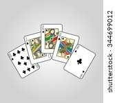 single playing cards vector ... | Shutterstock .eps vector #344699012