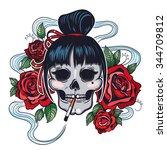 vector color tattoo woman skull ... | Shutterstock .eps vector #344709812
