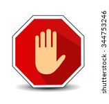 no entry hand sign with long... | Shutterstock .eps vector #344753246