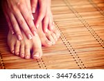 care for beautiful woman legs... | Shutterstock . vector #344765216