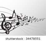 Dancing music notes - stock vector