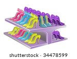counter with female footwear | Shutterstock .eps vector #34478599