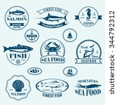 seafood retro emblems and... | Shutterstock .eps vector #344792312