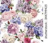 seamless floral pattern with... | Shutterstock . vector #344799425