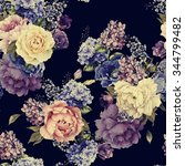seamless floral pattern with... | Shutterstock . vector #344799482