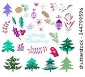 merry christmas  set. funny... | Shutterstock .eps vector #344799596