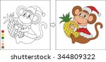 coloring page for kids. cartoon ... | Shutterstock .eps vector #344809322