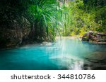 jungle landscape with flowing... | Shutterstock . vector #344810786