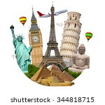 famous monuments of the world... | Shutterstock . vector #344818715