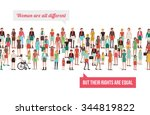 women's rights banner  crowd of ... | Shutterstock .eps vector #344819822