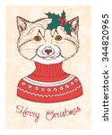 hand drawn vintage card with... | Shutterstock .eps vector #344820965