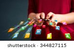 man holding smartphone with... | Shutterstock . vector #344827115