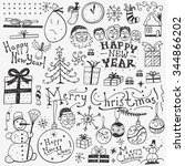 winter holidays   doodles set | Shutterstock .eps vector #344866202