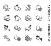 set of fruits and vegetables... | Shutterstock .eps vector #344868152