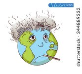 earth with pollution  vector | Shutterstock .eps vector #344889332