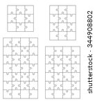 set of white puzzles  vector | Shutterstock .eps vector #344908802